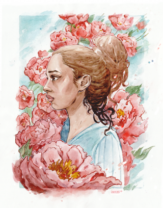 Woman standing in flowers.png