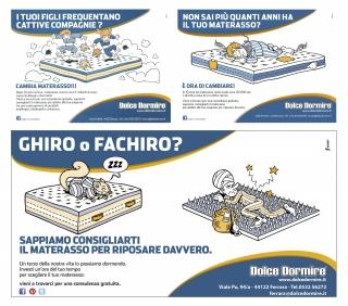 Cartoons for advertising a mattress shop (fakir, dormouse, jumping kids ecc.)
