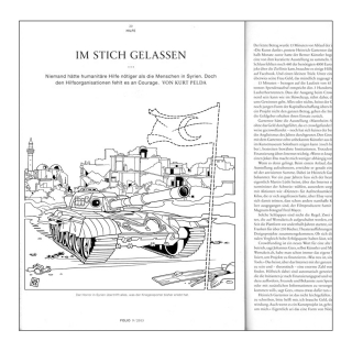 """Editorial Illustration for NZZ Folio magazine (tank in Syria with ICRC """"ghost"""" flag).jpg"""