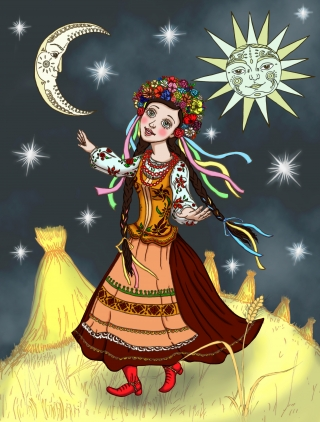 A girl named Iskorka having time of her life in the night field among the wheat and Slavic pagan protector spirits