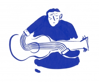 Guitar player blue