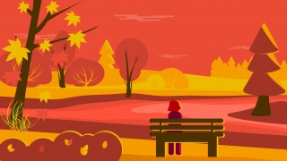 Fall landscape with girl sitting on a bench .jpg