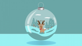 A christmas ball with a cute deer inside