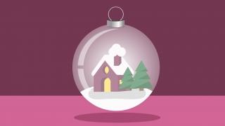 A christmas ball with a lodge inside