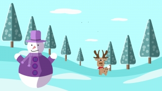 Winter landscape with a snowman and a reindeer .jpg