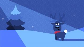 Cute winter deer