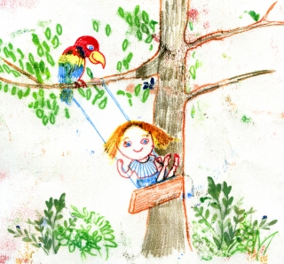 Little girl on a swing with a parrot