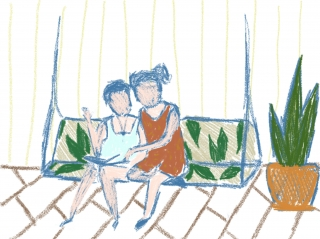 Two women on swinging bench