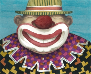 Clown smiling at the audience