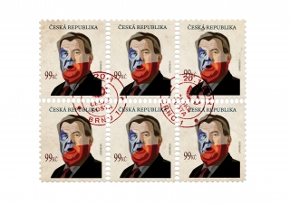 Czech president Zeman post stamps