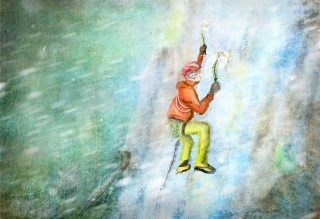 Mountaineer climbing ice slather