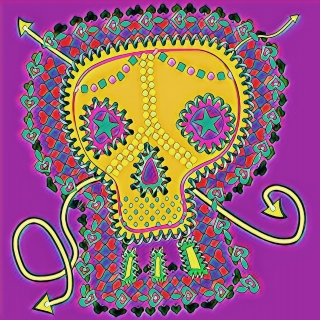 Colorful skull with lilac background