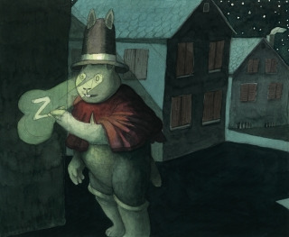 Magic rabbit marks a house at night