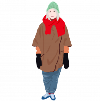 Girl dressed in winter style outfit