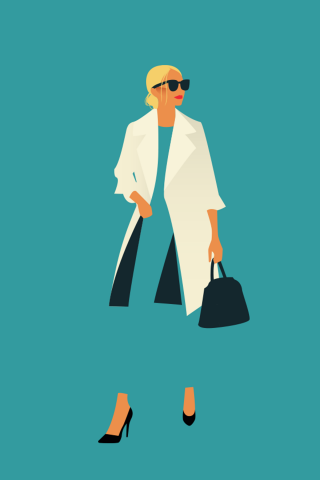 Business stylish woman walking down the street with per bag and sunglasses.png