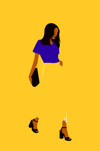 Milennial ethnic stylish woman walking with a purse on yellow background.png