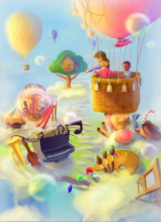 Children in a dreamy fairy land in a balloon.jpg