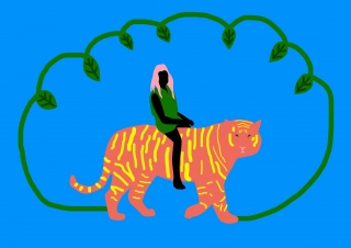 Tiger rides in the jungle.jpg