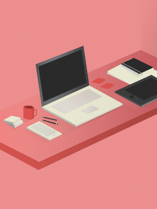 Design workspace with tablet and laptop in perspective on pink background