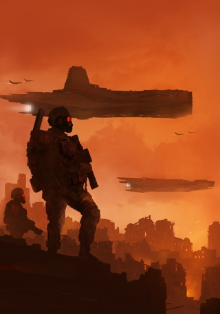 Two soldiers on distant war-torn planet