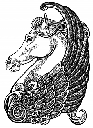 Line Drawing of Pegasus, the winged Horse of Greek Mythology, shown in a vignette style, showing the head, wing and ornaments in profile .jpg