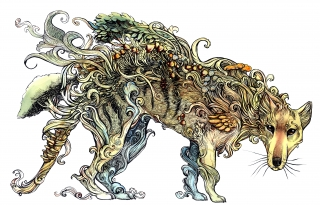 Line drawing of a Thylacine covered in mushrooms and plants, as a symbol for its extinction and it becoming some sort of forest spirit. .jpg