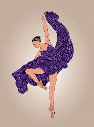 Ballet ballerina dancing in purple dress