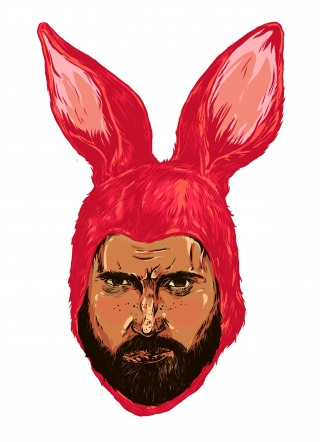 Angry Bunny men in a mask of a red rabbit .jpg