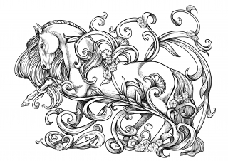 Baroque Horse showing the Spanish trot within flower ornaments