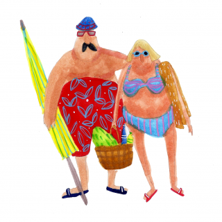 Older couple heading to the beach