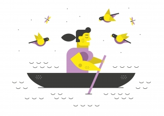 Relaxed woman kayaking in a river birds flying around