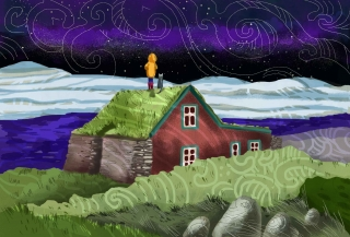 Icelandic turf house and boy with a cat standing on a roof.jpg