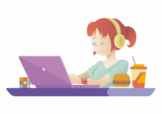 A freelance girl working on her computer drinking juice eating hamburger and listening music with headset
