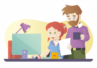 A woman working on a computer, while a man is watching her and drinking coffee.png