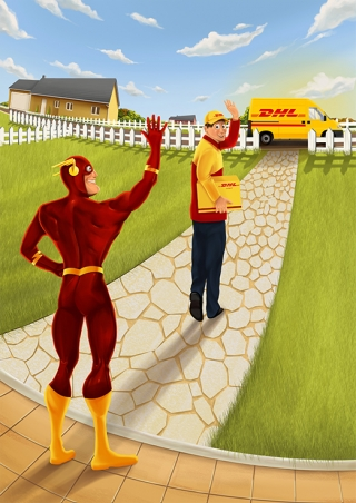 Flash delivering for DHL Advertising