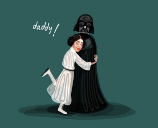 Princess Leia and her father Darth Vader