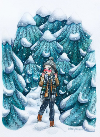 Girl walks in a winter forrest.png