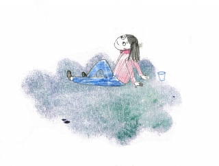 Frau mit coffee to go auf einer Wolke blickt  entspannt in die ferne zukunft