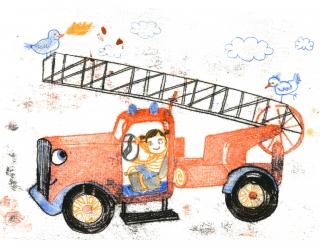 Feuerwehrmädchen im Feuerwehrauto am Steuer glücklich mit Vögel, die Feuer speien