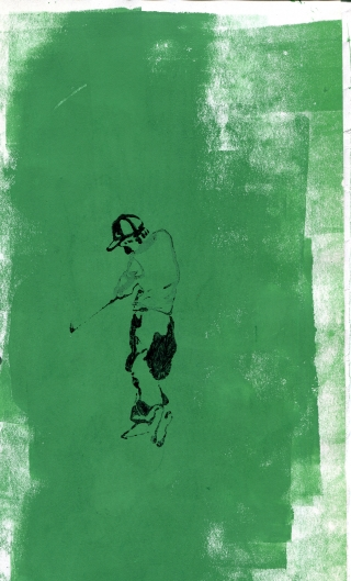 man playing golf, green