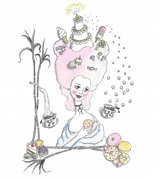 Woman with cotton candy hair with sweets holding a cookie.