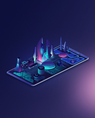 Isometric neon city on the smartphone screen