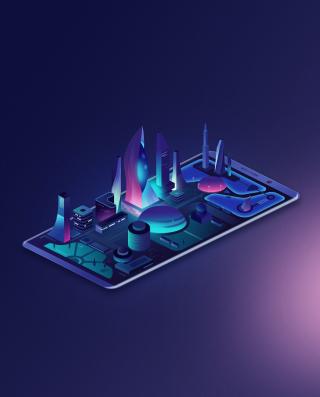 Isometric neon city on the smartphone screen