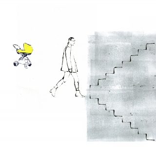 Woman career with kids standing in front of stairs up and dowm