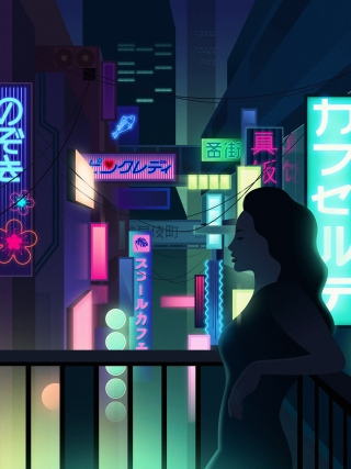 Women standing on a balcony with futuristic neon city landscape at the background
