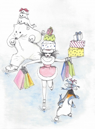 A girl, a polar bear and a penguin are Christmas shopping with ice skates.
