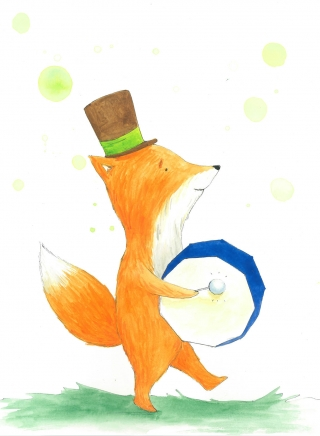 _Fox with drum, akvarel, kresba, A3, 2016