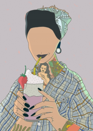 Faceless pin-up girl drinking milkshake