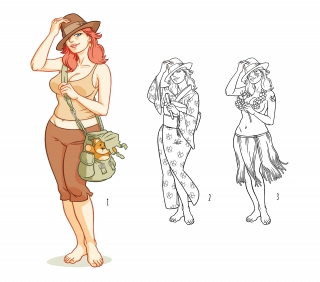 Adventurer girl - like Indiana Jones -with teddy bear (and variants)
