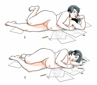 A lying naked woman draws, then falls asleep over her drawings